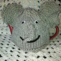 Elephant Tea Cosy Knitting Pattern in 3 sizes using double knitting yarns