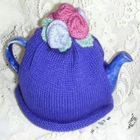 Rose Tea Cosy Knitting Pattern in 3 sizes using double knitting yarn