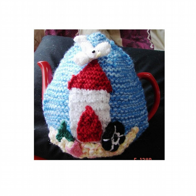 Seaside Beach Hut Tea Cosy Knitting Pattern in 3 sizes using Double Knit Yarn