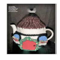 Hobbit House Tea Cosy Knitting Pattern in 3 sizes using double knitting yarn