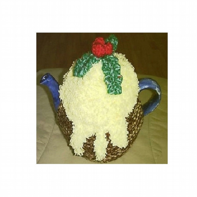 Christmas Pudding Tea Cosy Knitting Patterns in 3 sizes uses Double Knit Yarn