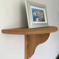 Small Half Round Solid Oak or Ash Shelf With Small Bracket