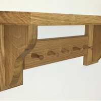 Solid Oak Key Rack and Shelf