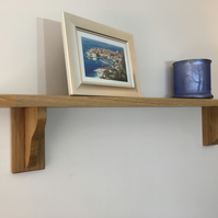 Small Solid Oak Or Ash Shelf with Small Brackets H17cm x D13cm