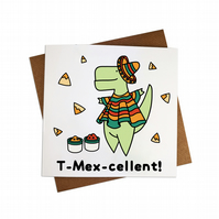 T Mexcellent Greeting Card T Mex Card Dinosaur Greeting card Funny Dinosaur card