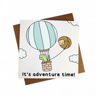 It's Adventure Time Greeting Card Kawaii Card Travelling Card Vacation card