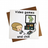 Video Games and Chill Greeting Card Gaming Greetings Card card T Rex Card Dino