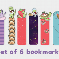 Set of 6 Loof & Timmy Bookmarks Cute Bookmarks Dinosaur Bookmark Bread Bookmark
