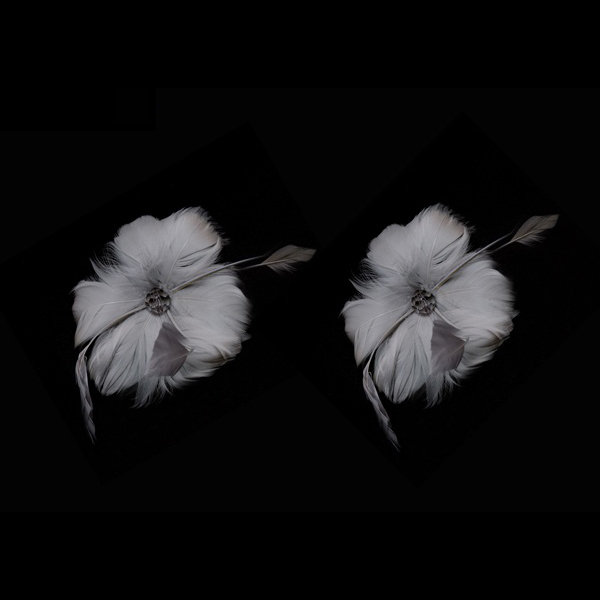 Two Feather Flowers for Fascinators and Millinery, 10cm (4 inches) diameter - Pe