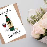 40th Birthday Card - Aged to Perfection Wine Card