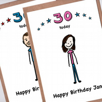 Custom Cartoon Portrait 30th Birthday Card