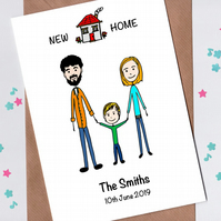 New Home Card with Cartoon Family Portrait
