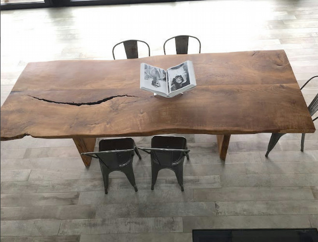 Ancient Dining Table, Rare Oak Dining Table, Over 200 Year Old Oak, Live Edge Di