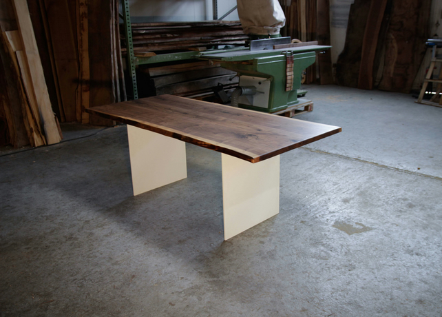 Walnut Designer Table, Modern Dining, All-wood Table on White Steel Legs, Contem