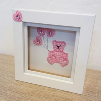 "Nursery decor shadow box frame picture ""Bear with balloons"""