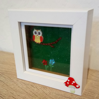 "Nursery decor shadow box frame picture ""Little owl""."