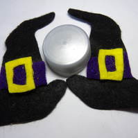 OOAK FELT lucky black & PURPLE witches hat pair halloween felt hair clips hand c