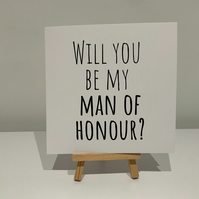 Will you be my man of honour card, man of honour proposal card, wedding