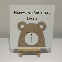 Age Birthday card, personalised card, birthday, bear, son, grandson, boy
