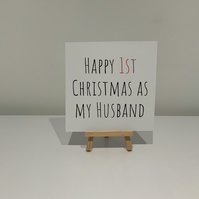 Happy first Christmas as my husband card, husband Christmas card,