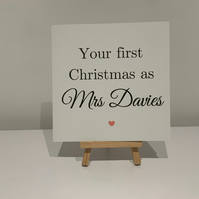 First Christmas as mrs, personalised Christmas card