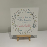 Birthday card, personalised, 1st, 2nd, 3rd, 4th, milestone birthday, daughter