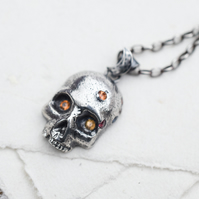 Sterling silver skull necklace, Mens Skull necklace, Rustic skull necklace