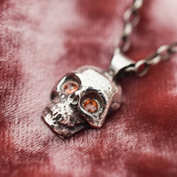 Dainty skull necklace, Sterling silver skull necklace, Memento Mori necklace