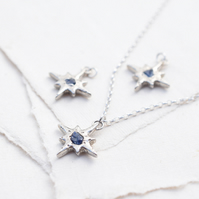 Star necklace, Silver star necklace, Rough sapphire necklace, Sapphire necklace