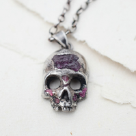 Skull necklace, Rough ruby necklace, Silver skull necklace, Memento Mori