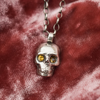 Memento Mori necklace, Sterling silver skull necklace, Sapphire skull necklace