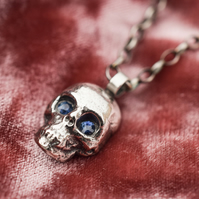 Sapphire skull necklace, Silver skull necklace, Sterling silver skull necklace