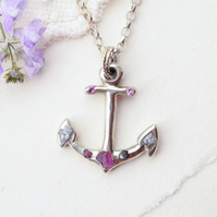 Anchor necklace, Silver anchor necklace, Nautical necklace, Rough Diamond