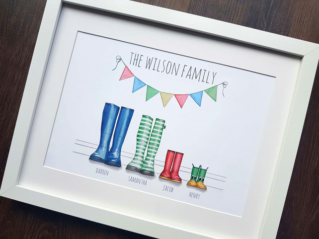 Personalised family welly boot print, custom family print - perfect gift