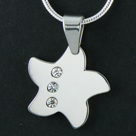 Stainless Steel Star Necklace Silver Tone Star Charm Necklace