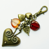 Brass and Glass Hearts Bag Charm