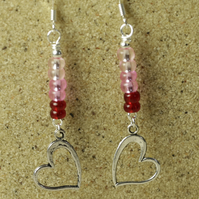 SALE - Silver Hearts and Pink Glass Beads Earrings