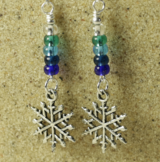 Silver Snowflake and Blue Glass Beads Earrings