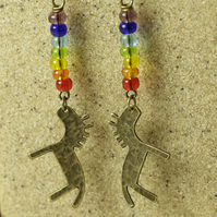 SALE - Cute Brass Horse and Rainbow Glass Beads Earrings