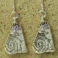 SALE - Silver Cat Earrings