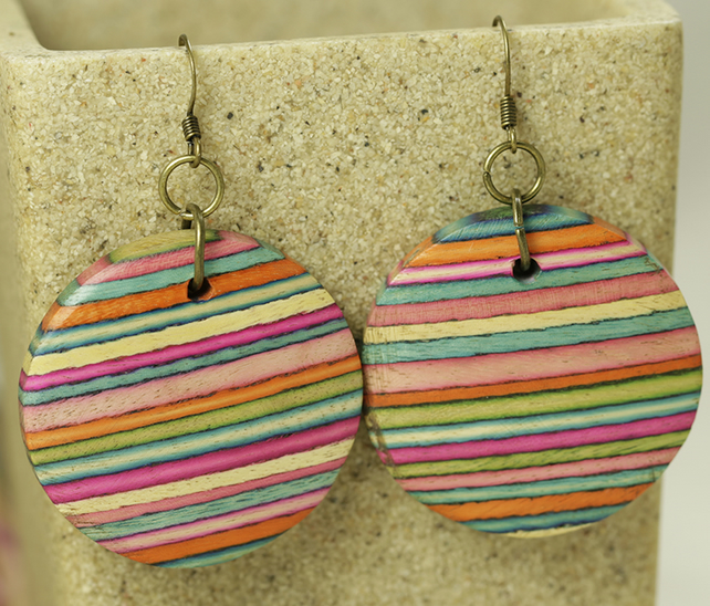 SALE - Striped Wood Circle Earrings