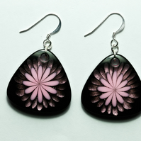 SALE - Pink Flower and Black Acrylic Earrings