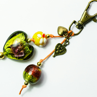 Green Lampwork Heart and Beads on Brass Bag Charm