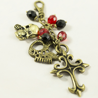 Brass Cross and Skulls Bag Charm