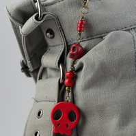 SALE - Red Howlite Skull Bag Charm