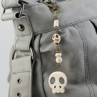 SALE - White Howlite Skull Bag Charm