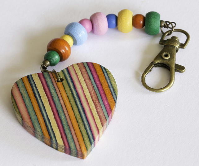 Multi Coloured Wooden Heart and Beads Bag Charm
