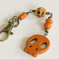 SALE - Orange Howlite Skull Bag Charm