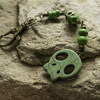 SALE - Green Howlite Skull Bag Charm