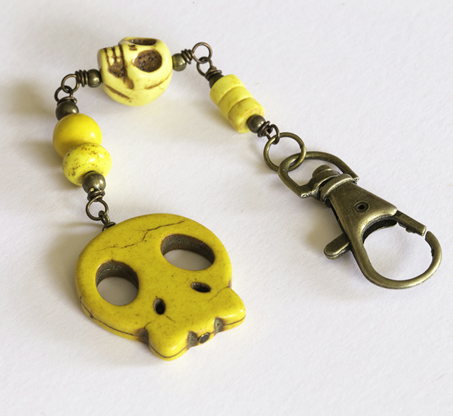 SALE - Yellow Howlite Skull Bag Charm